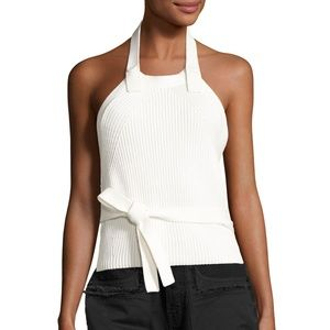 Helmut Lang Halter Top Ribbed Knit Button Back Tie